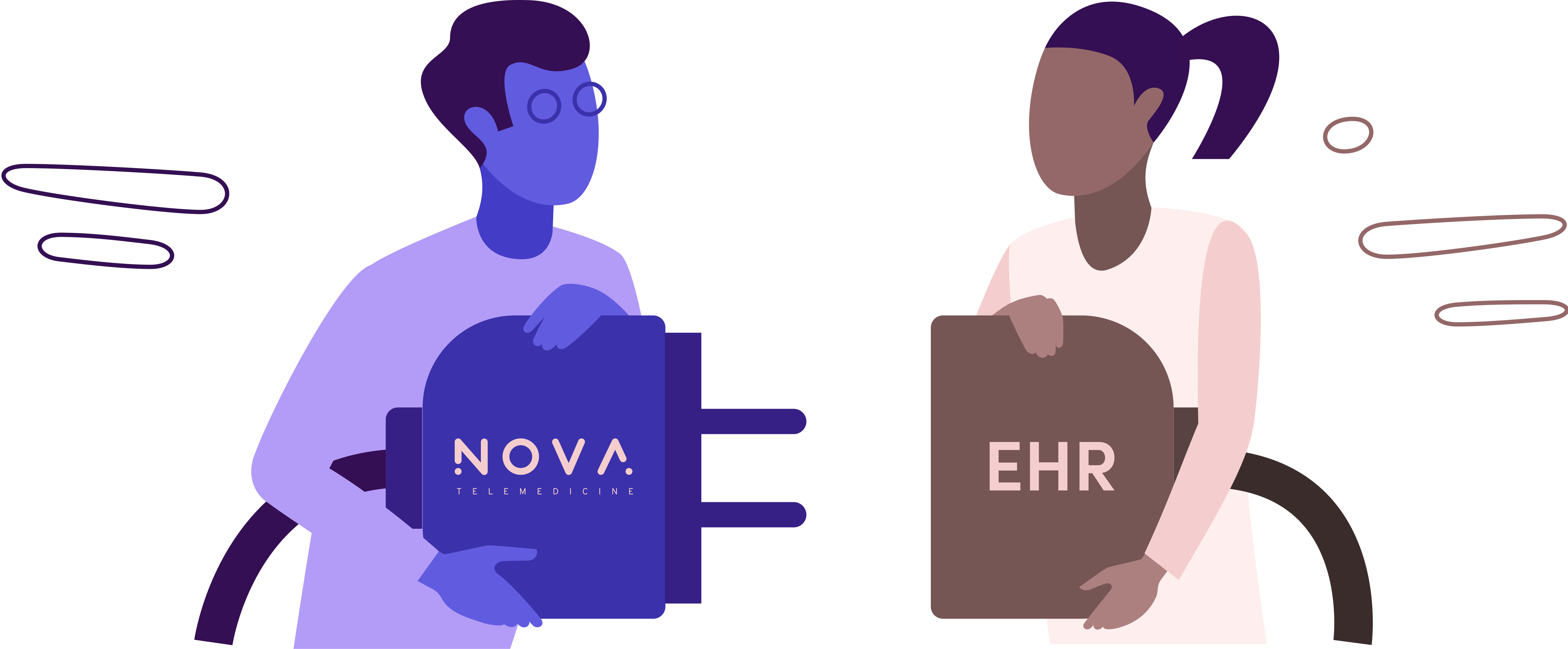 Illustration of a man with a Nova plug and a woman with an EHR plug