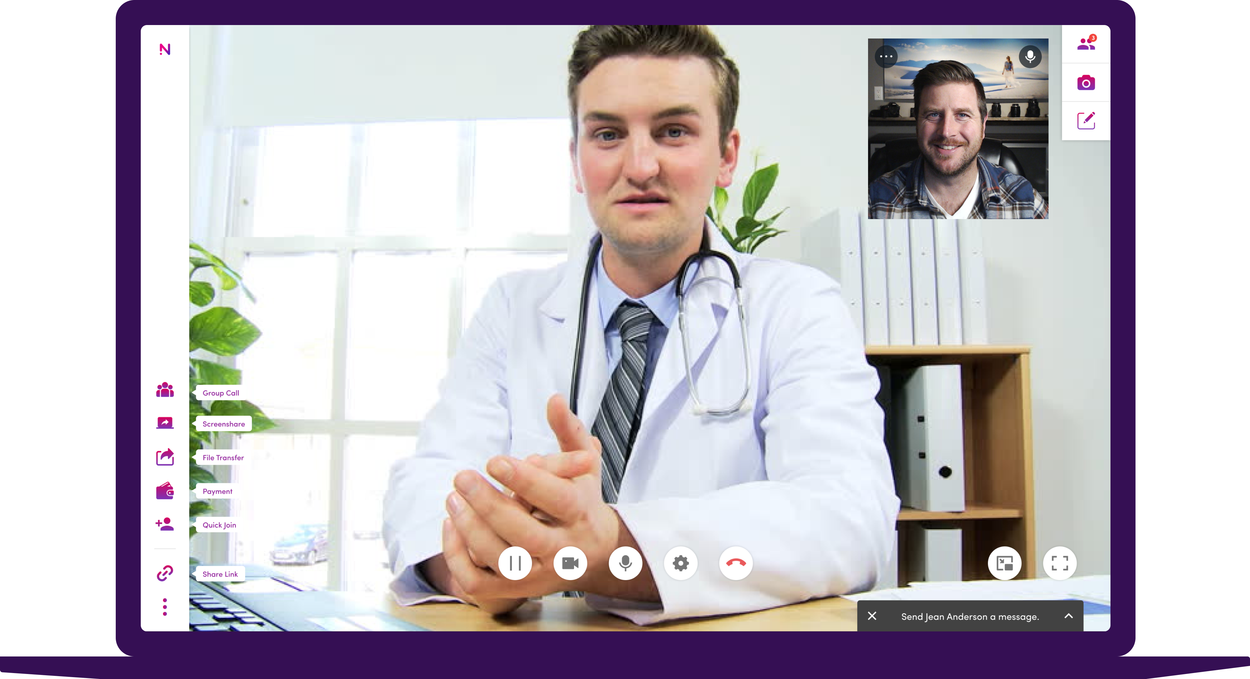 Male doctor meeting with male patient using video telemedicine tool on a laptop