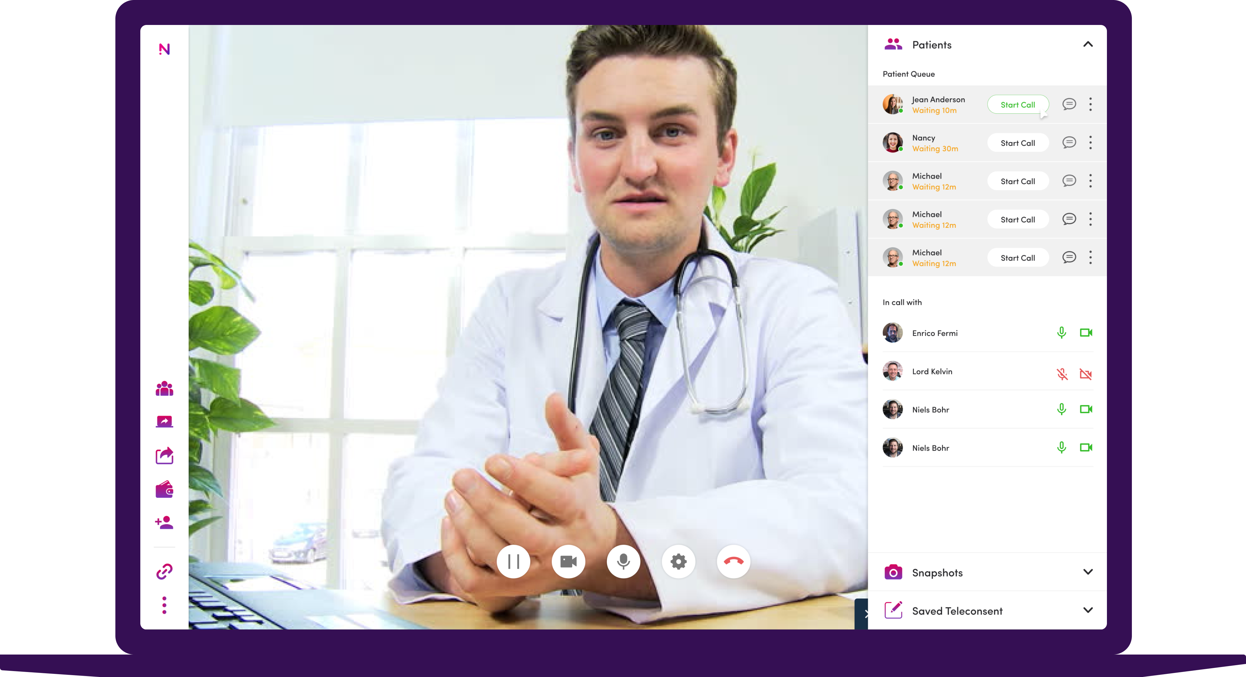 Patient queue user interface with a male doctor's video stream on a laptop